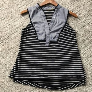Anthropologie // Little Yellow Button Striped Tank